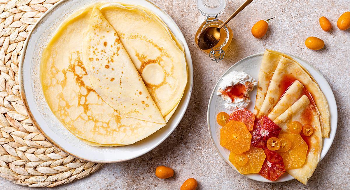 Crepes con crema de naranja