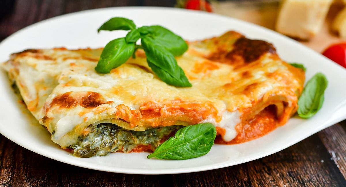 Lasaña vegetal con espinacas y queso