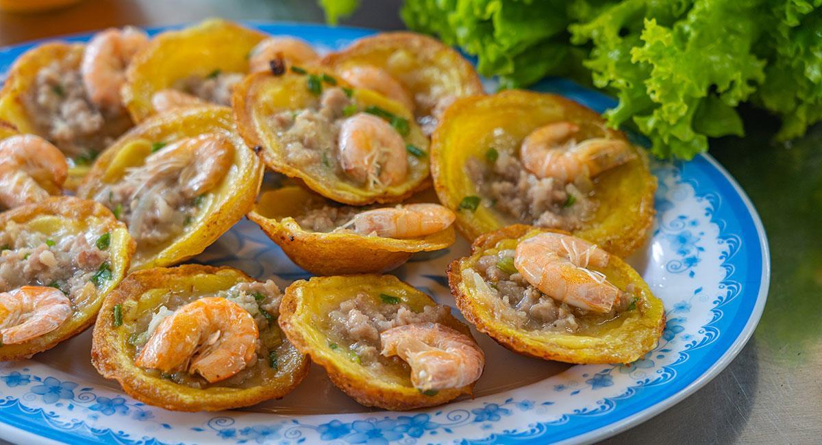Mini crepes de camarón