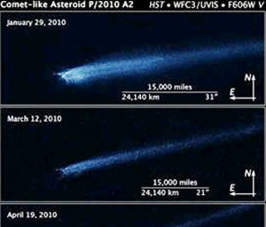 Hubble capta primeras imágenes de la colisión de dos asteroides