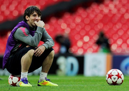 El delantero argentino del FC Barcelona Lionel Messi en Wembley/EFE