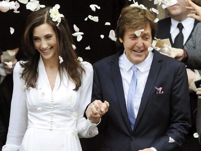 El matrimonio del ex Beatle y Nancy Shevell. Foto: EFE