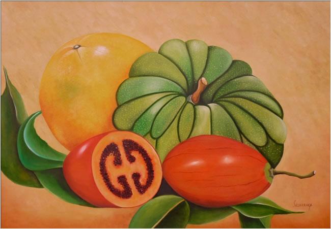 Mis Frutas. Óleo sobre lienzo. 1 m x 70 cm