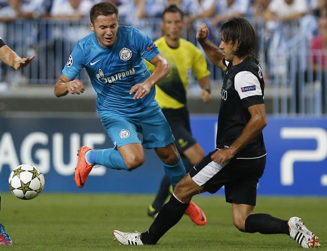 Con goles de Isco y Saviola Málaga supera al Zenit