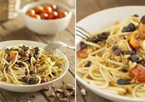 Espaguetis con frutos secos