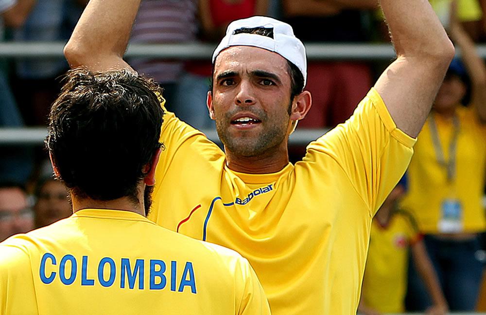 Celebración del equipo colombiano de Copa Davis. Foto: EFE