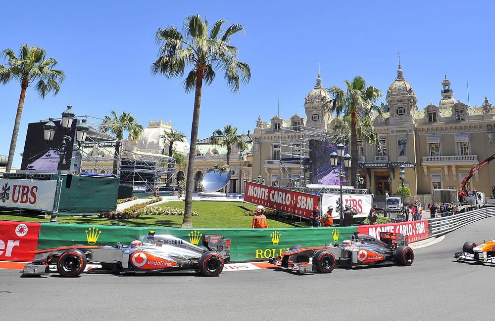 El piloto mexicano Sergio Pérez durante el Gran Premio de Mónaco. Foto: EFE