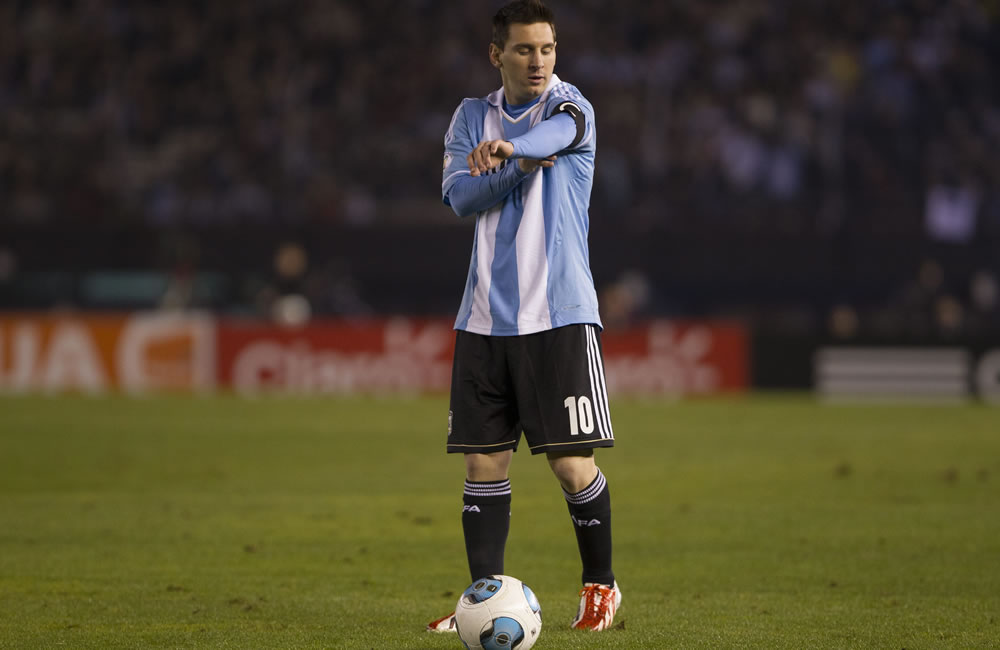 Lionel Messi de Argentina ante Colombia. Foto: EFE