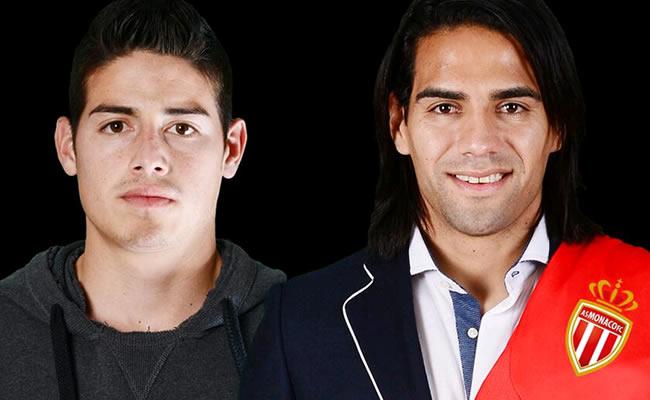 Los jugadores colombianos del Mónaco, James Rodríguez (i) y Radamel Falcao García (d). Foto: Twitter