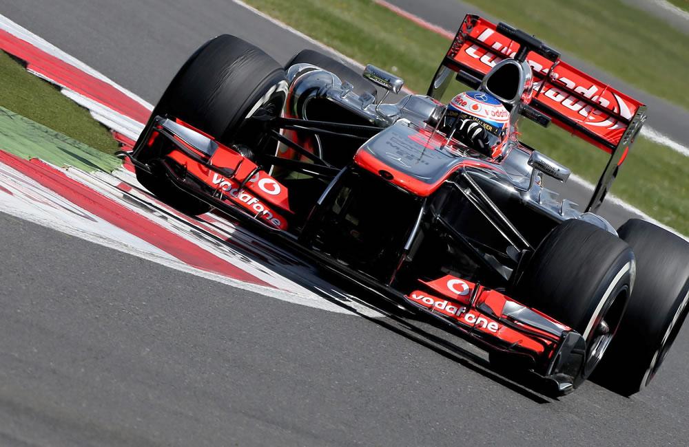 El piloto británico Jenson Button durante el Gran Premio de Gran Bretaña. Foto: EFE