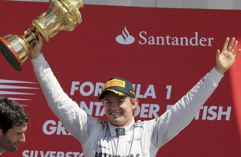 El piloto alemán Nico Rosberg ganador del Gran Premio de Gran Bretaña. Foto: EFE