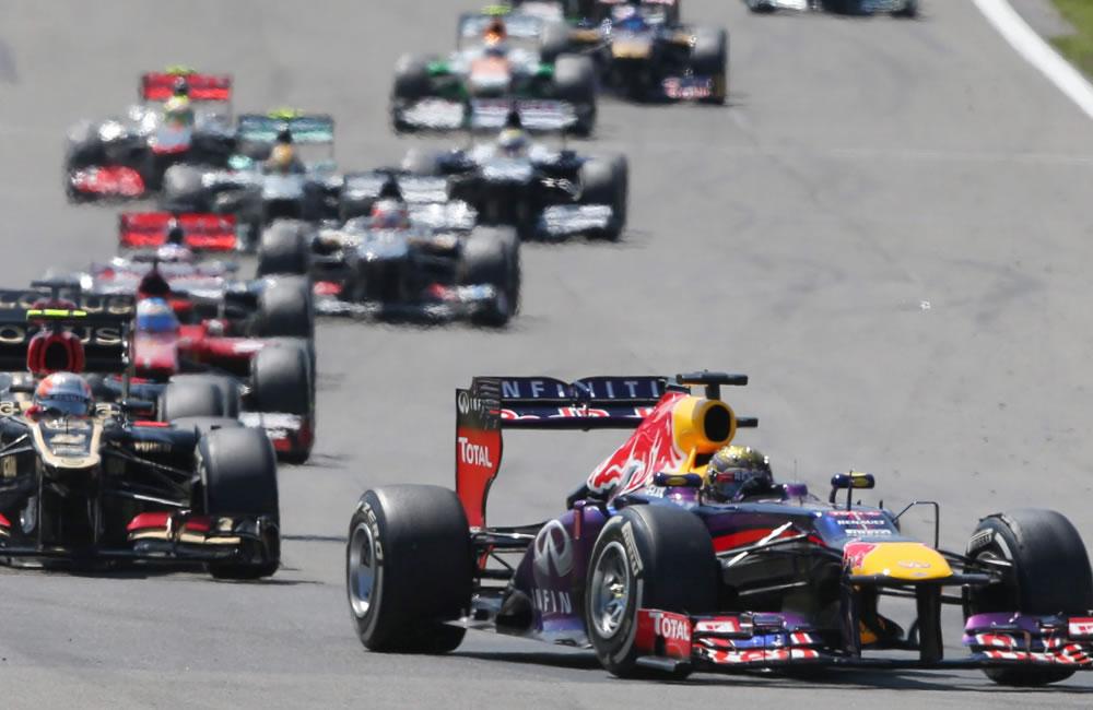 Los pilotos de fórmula Uno durante el Gran Premio de Alemania. Foto: EFE