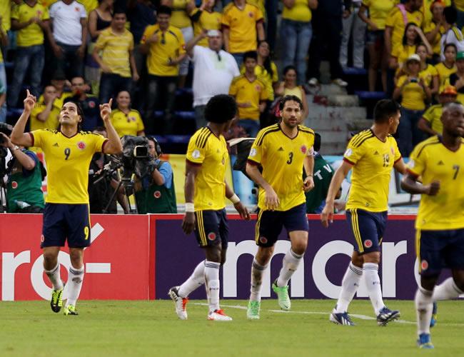 Celebración de los jugadores de la Selección Colombia. Foto: EFE