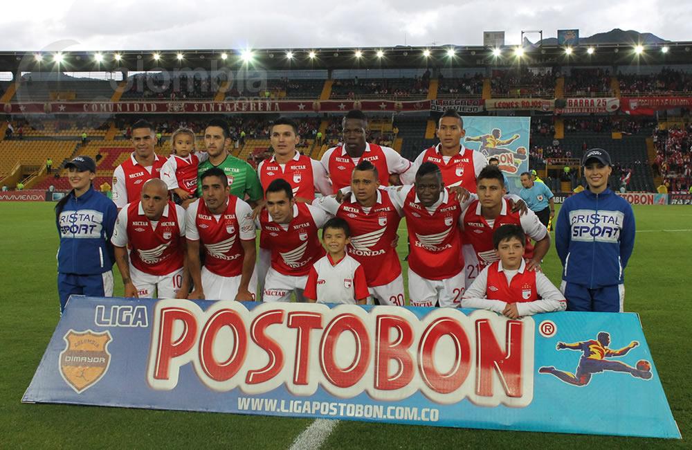 Los jugadores de Independiente Santa Fe posan antes del inicio del partido. Foto: Interlatin