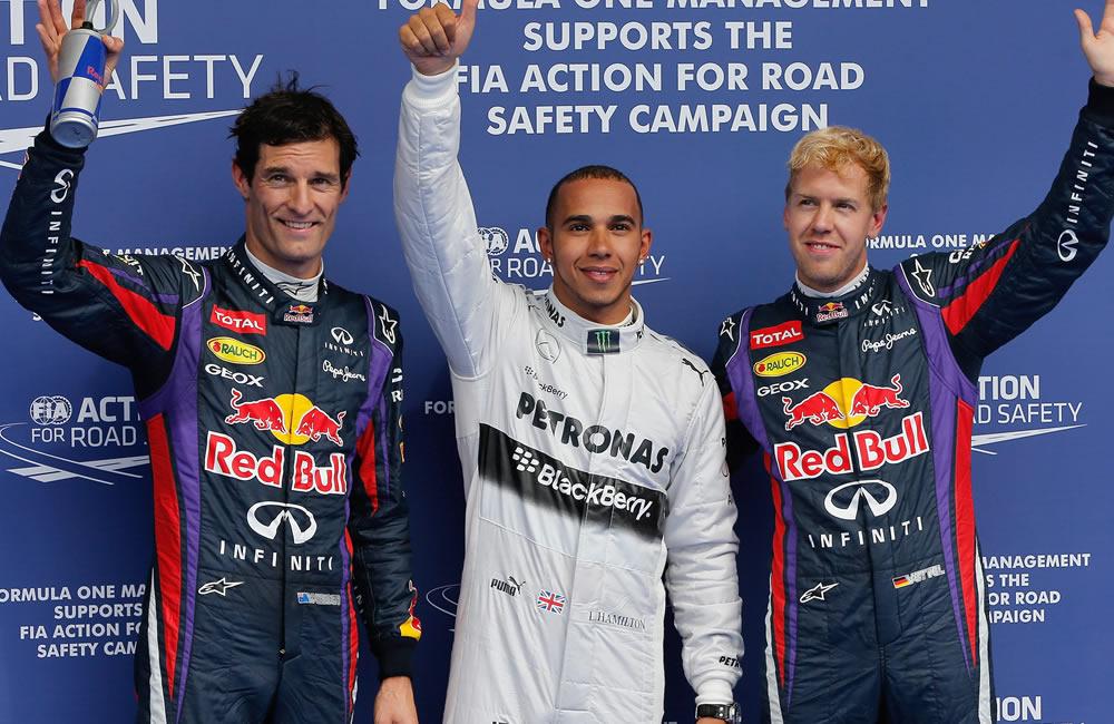 Los pilotos de Fórmula 1, el británico Lewis Hamilton, el australiano Mark Webber y Sebastián Vettel. Foto: EFE