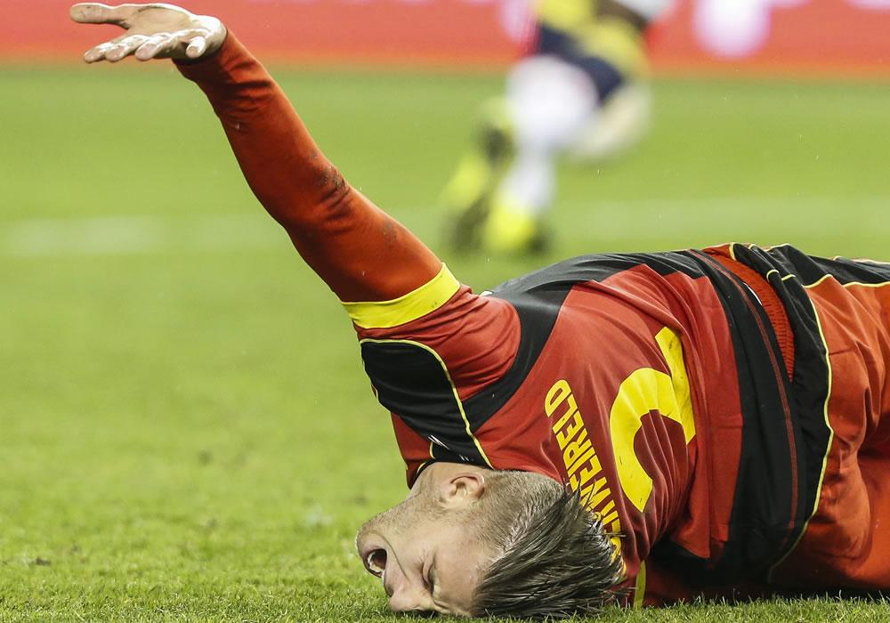El jugador de Bélgica, Toby Alderweireld, reacciona. Foto: EFE
