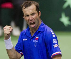 El tenista checo Radek Stepanek gesticula. EFE
