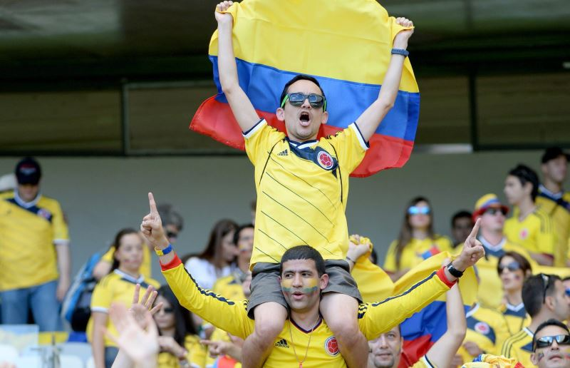 Los colombianos llenaron el Mineirão de Belo Horizonte. Foto: EFE