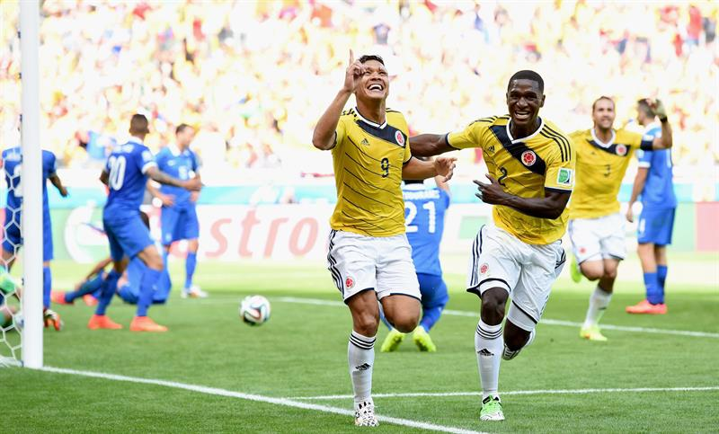 Colombia venció 3-0 a Grecia con goles de Pablo Armero (6'), Teófilo Gutiérrez (58') y James Rodríguez (91'). Foto: EFE