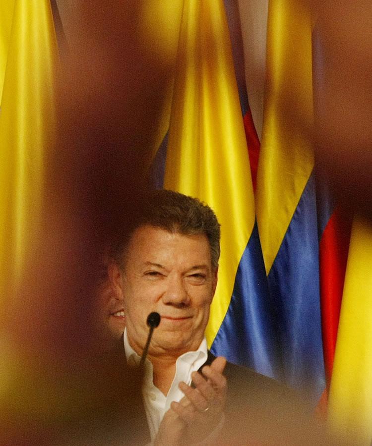 Sede de Juan Manuel Santos al conocerse los resultados de la jornada electoral. Foto: EFE