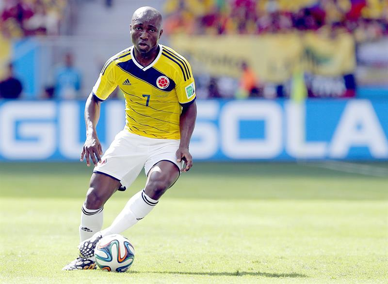Pablo Armero of Colombia in action during the FIFA World Cup 2014 group C