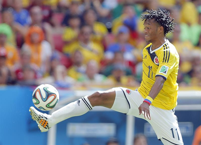 Juan Cuadrado of Colombia in action during the FIFA World Cup 2014 group C