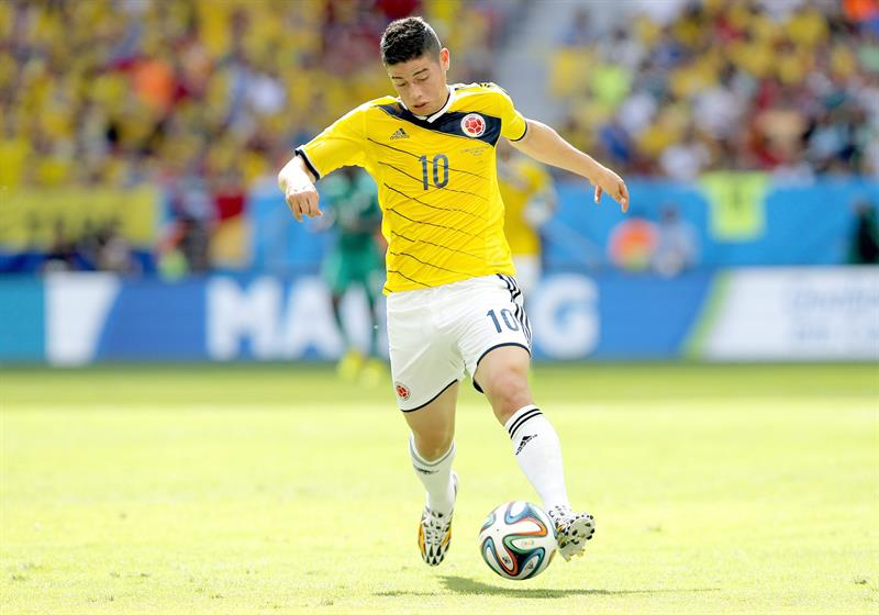 James Rodriguez of Colombia in action during the FIFA World Cup 2014 group C