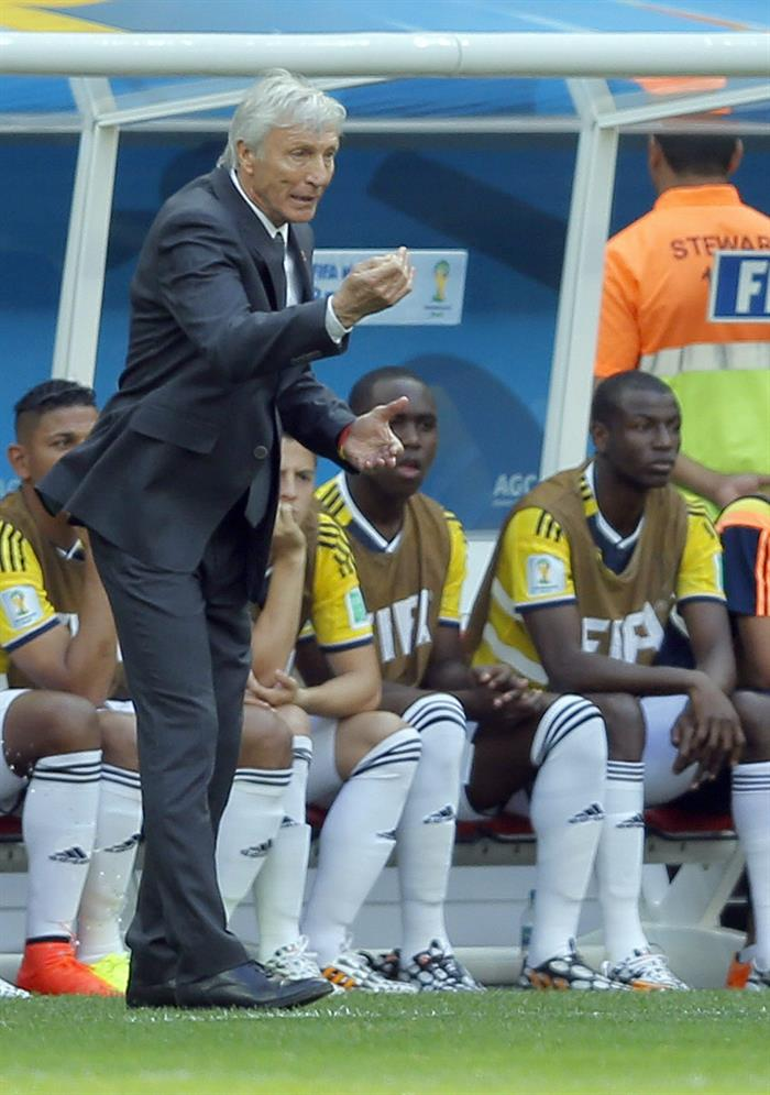 Colombia's coach Jose Pekerman in action during the FIFA World Cup 2014 group C