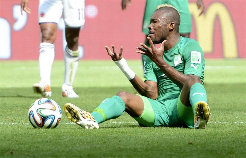 Ivory Coast's Die Serey gestures on the pitch during FIFA World Cup 2014 group C