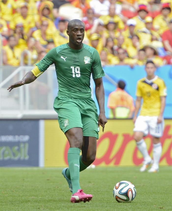 Ivory Coast's Yaya Toure controls the ball during the FIFA World Cup 2014 group C