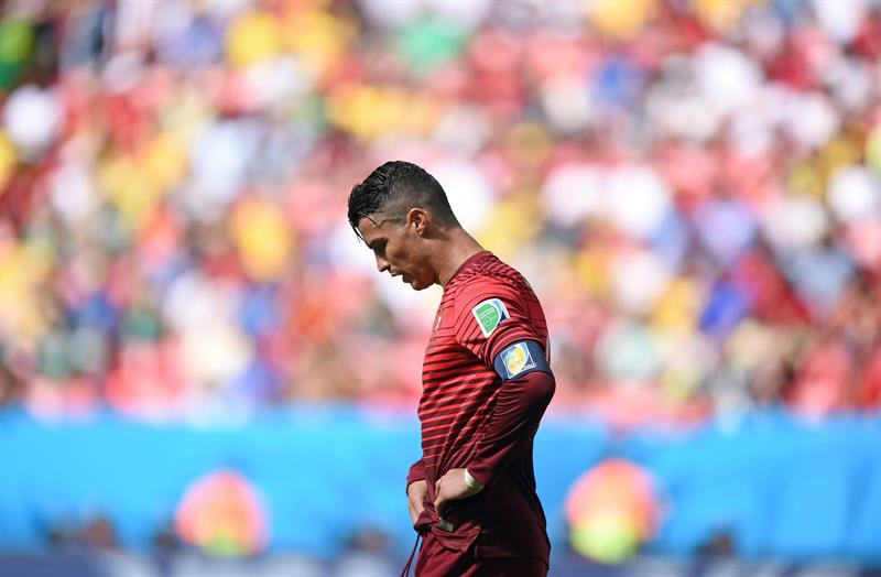 Portugal's Cristiano Ronaldo reacts during the FIFA World Cup 2014 group G. Foto: EFE