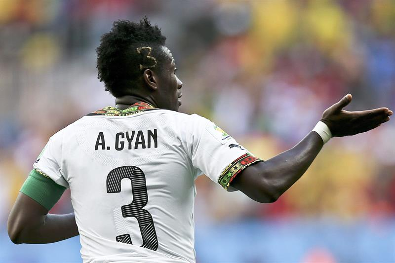 Ghana player Asamoah Gyan celebrates a goal against Portugal during the FIFA World Cup 2014 group G. Foto: EFE