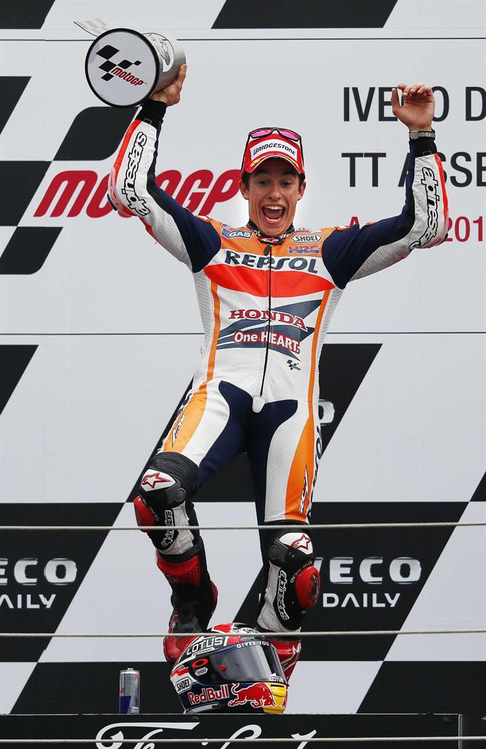 El piloto español Marc Márquez ganador del Gran Premio de Holanda. Foto: EFE