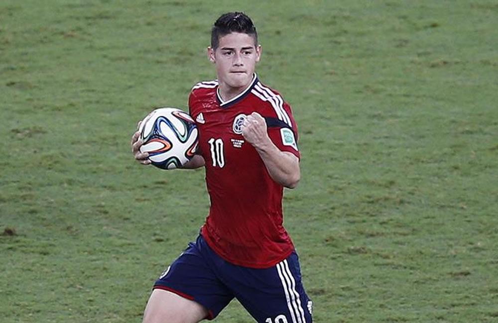 El centrocampista colombiano James Rodríguez celebra el gol marcado ante Brasil durante el partido Brasil-Colombia. Foto: EFE
