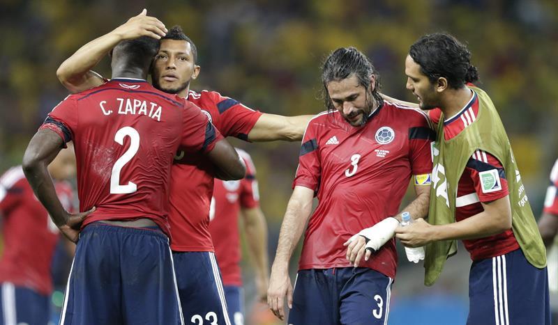 Los jugadores de Colombia al finalizar el partido Brasil-Colombia. Foto: EFE