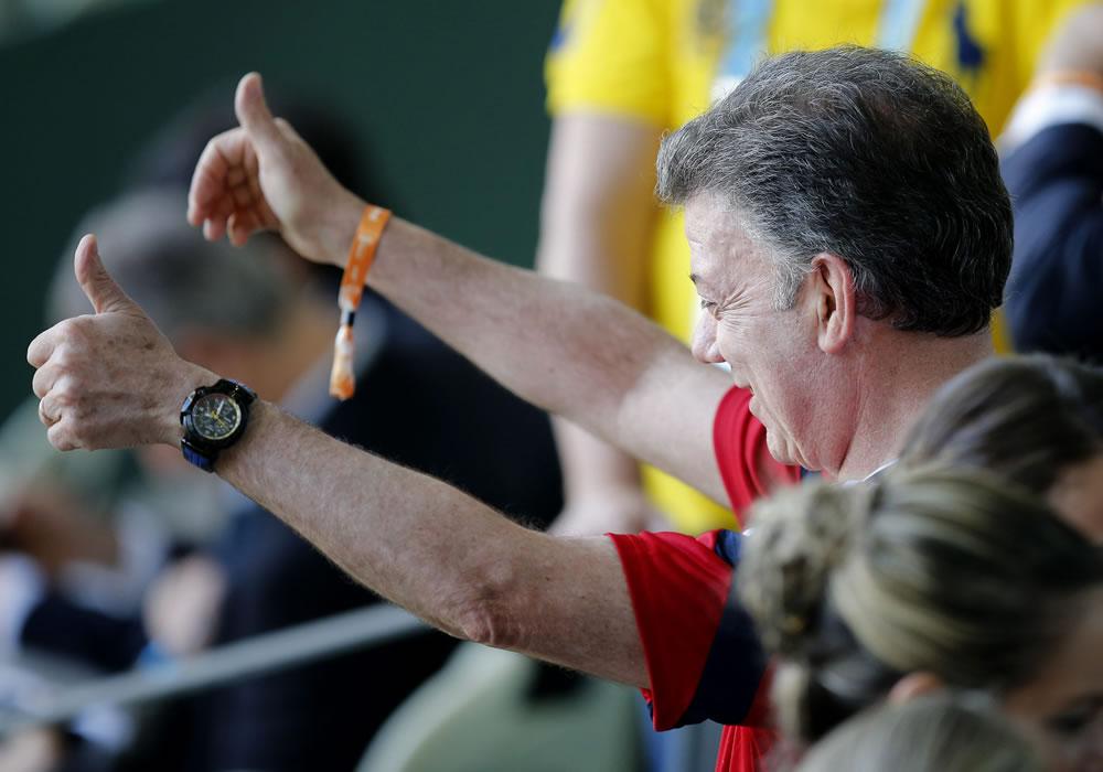 El presidente de Colombia, Juan Manuel Santos, en el Estadio Castelao de Fortaleza. Foto: EFE