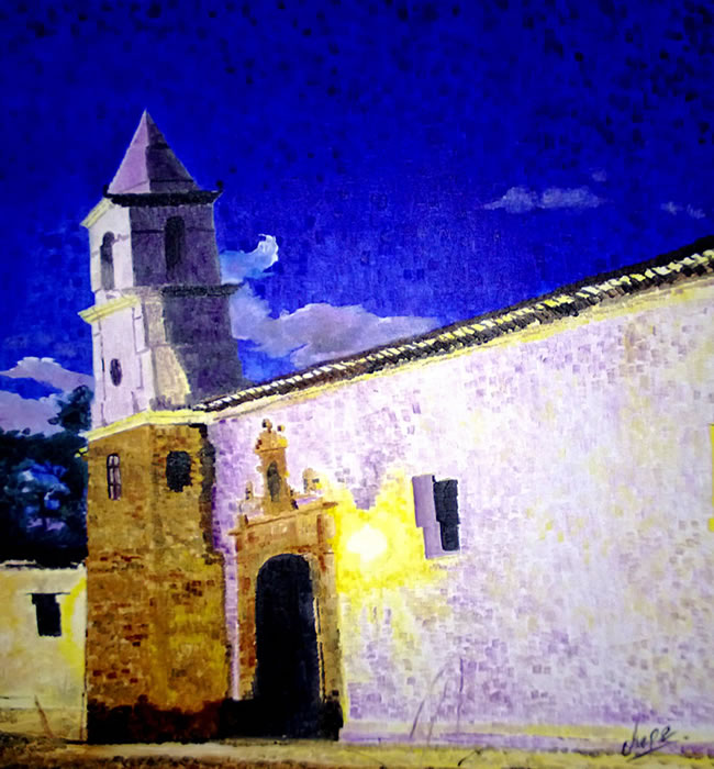 Aurora azul en la iglesia del carmen