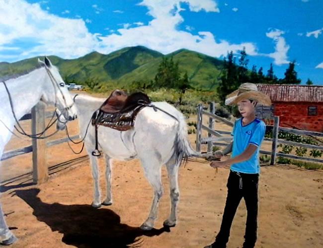 El guía y sus caballos
