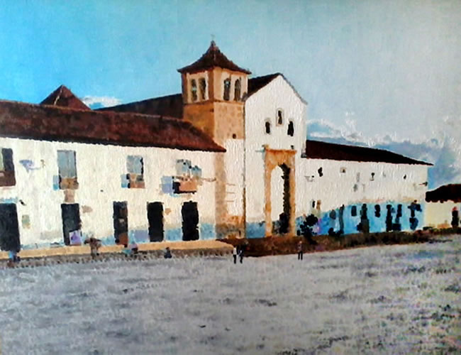 xLa plaza de la parroquia