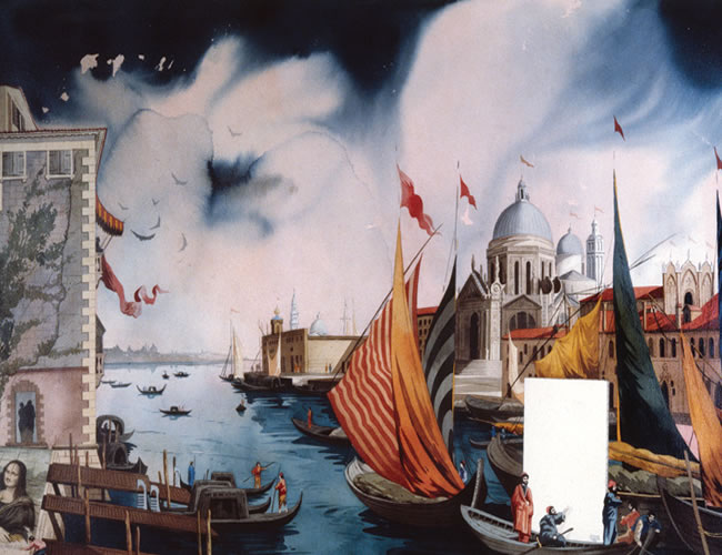 Llegada de un lienzo blanco a Venecia. Acuarela sobre papel.