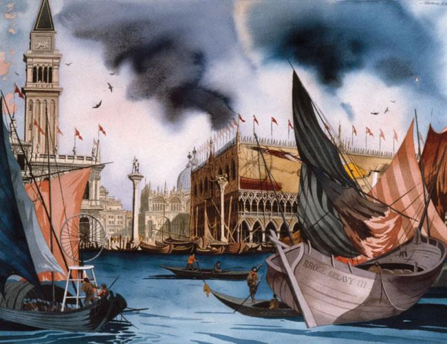 Llegada de una obra de Marcel Duchamp a Venecia. Acuarela sobre papel.