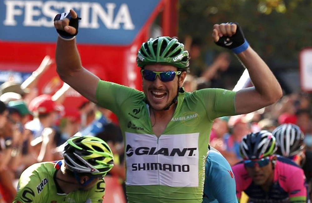 El alemán John Degenkolb, del equipo Giant Shimano, se ha proclamado hoy vencedor de la duodécima etapa. Foto: EFE