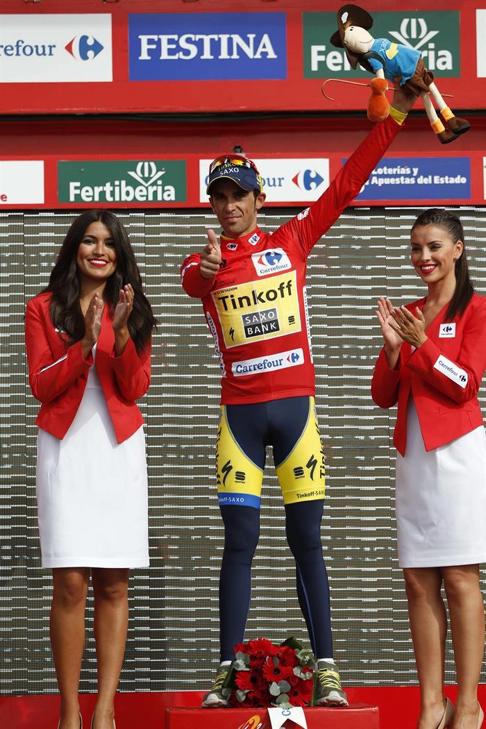 El ciclista español del equipo Tinkoff Saxo y líder de la clasificación general, Alberto Contador. Foto: EFE