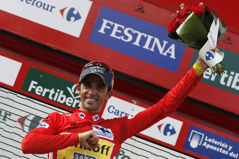 El ciclista español del equipo Tinkoff Saxo, Alberto Contador, sigue lider, al termino de la decimoctava etapa. EFE