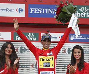 El ciclista español del equipo Tinkoff Saxo, Alberto Contador, sigue lider, al termino de la decimonovena etapa. EFE