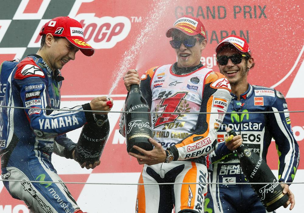 El español Marc Márquez (Repsol Honda RC 213 V) consiguió su objetivo de proclamarse campeón del mundo de MotoGP. Foto: EFE