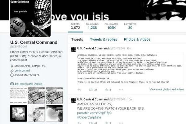 Captura de la página de la cuenta de Twitter del Comando Central de EE.UU., encargado de las operaciones en Irak y Siria, que fue pirateada. EFE