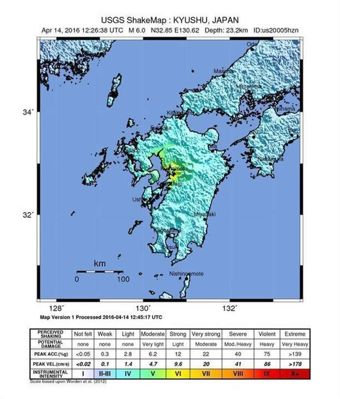 Mapa facilitado por el Servicio Geológico estadounidense (USGS), sismo en Kumamoto, al sudoeste de Japón. Foto: EFE
