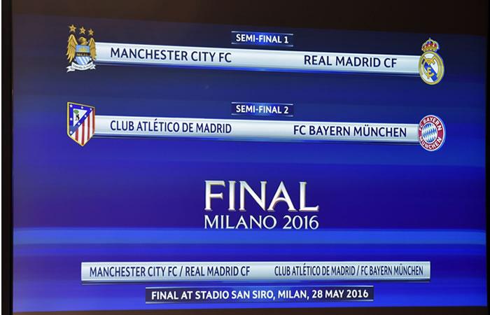 Así quedaron los encuentros de las semifinal de la Champions League. Foto: EFE