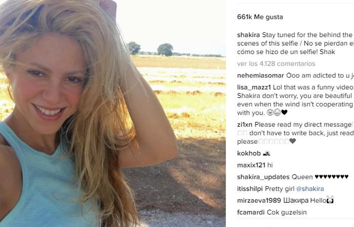Instagram: Shakira lucha para tomarse una 'selfie'